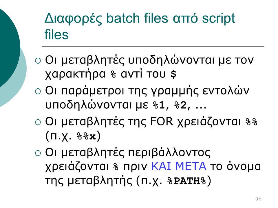 Διαφορές batch files από script files