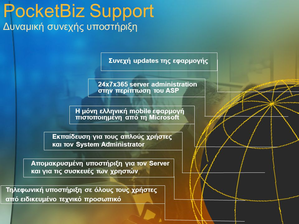 PocketBiz Support Δυναμική συνεχής υποστήριξη