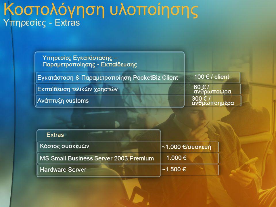 Κοστολόγηση υλοποίησης Υπηρεσίες - Extras
