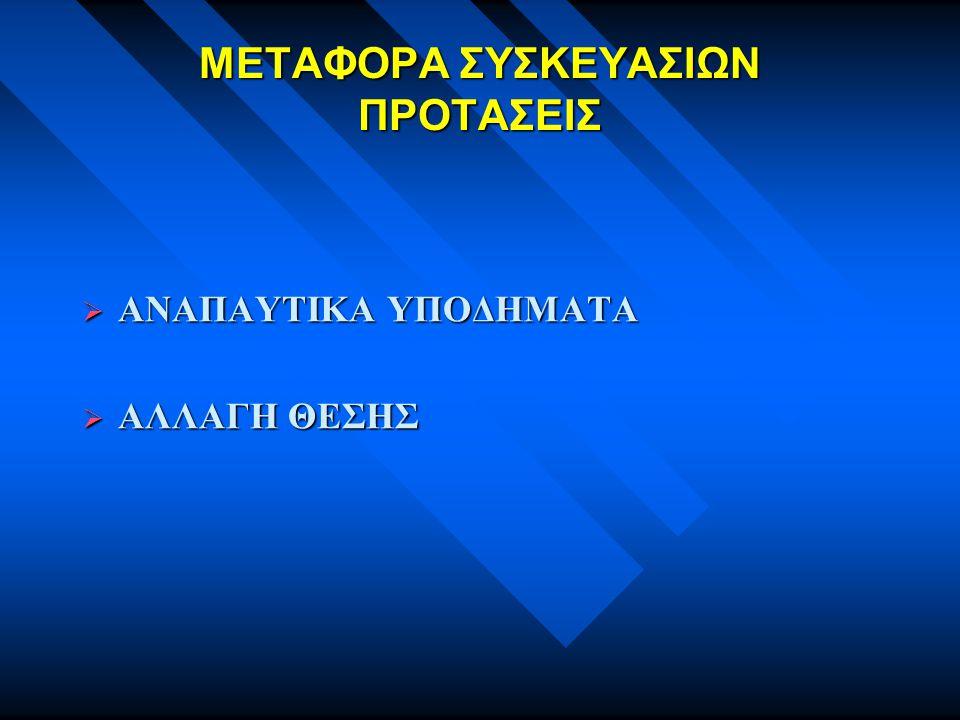 ΜΕΤΑΦΟΡΑ ΣΥΣΚΕΥΑΣΙΩΝ ΠΡΟΤΑΣΕΙΣ