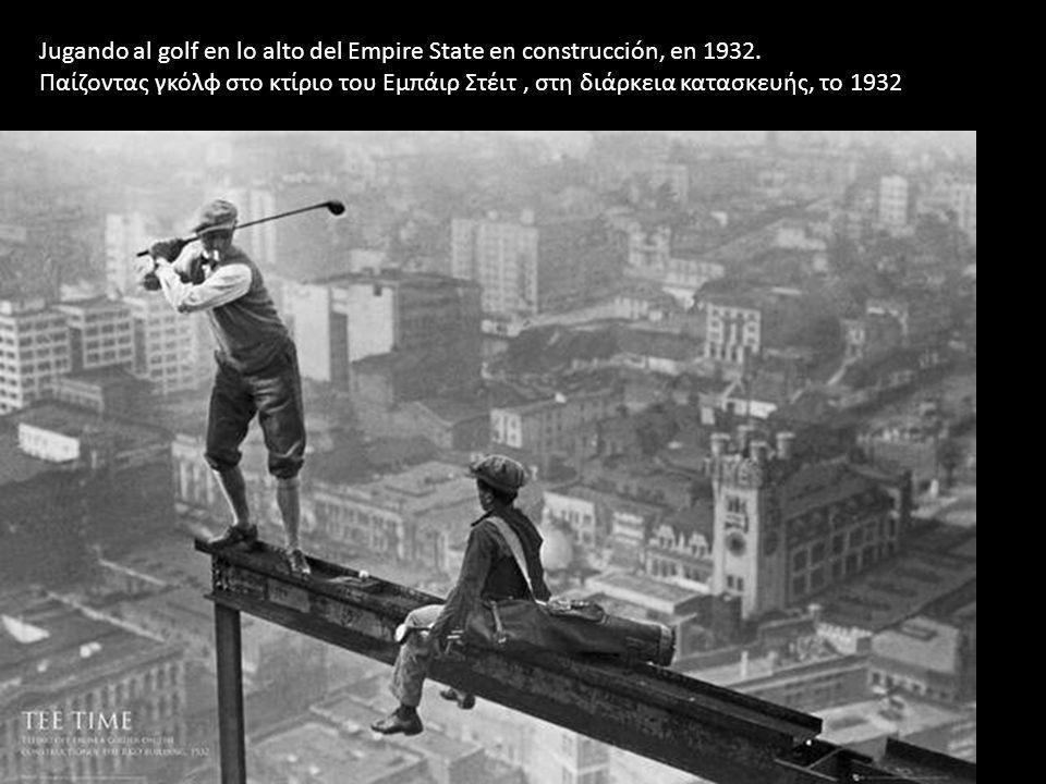 Jugando al golf en lo alto del Empire State en construcción, en 1932.