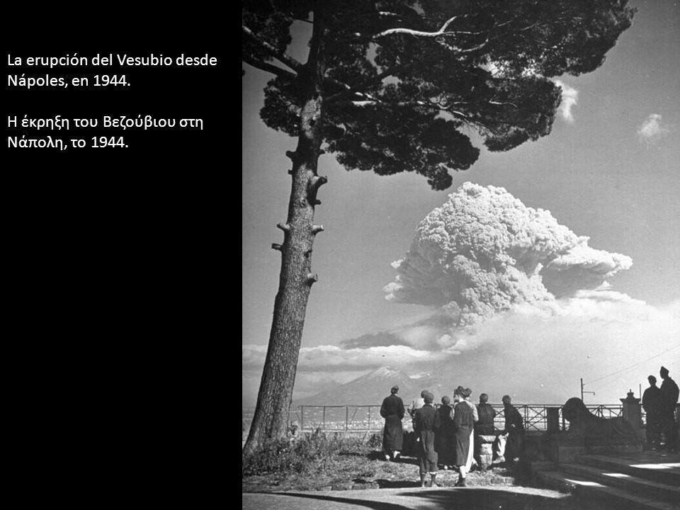 La erupción del Vesubio desde Nápoles, en 1944.