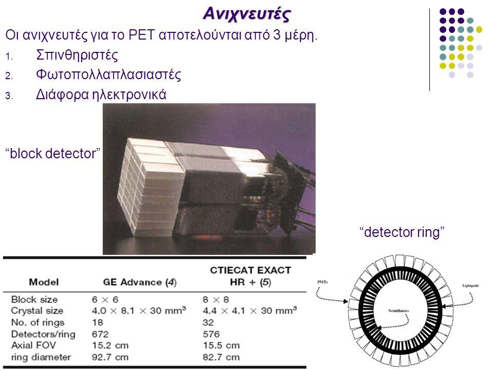Ανιχνευτές Οι ανιχνευτές για το PET αποτελούνται από 3 μέρη.