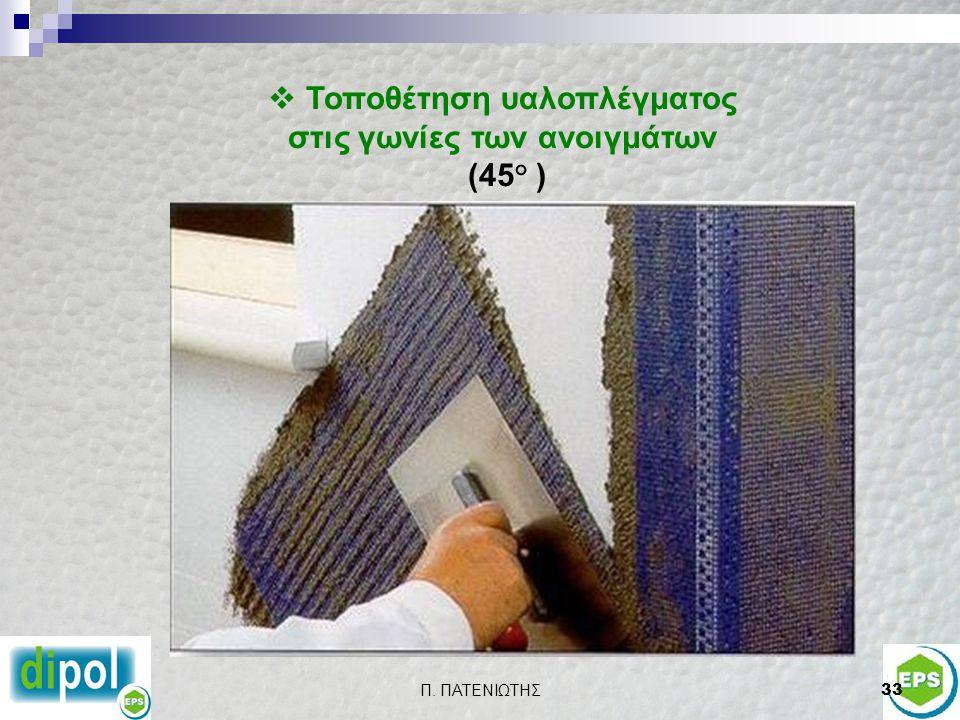 Τοποθέτηση υαλοπλέγματος στις γωνίες των ανοιγμάτων (45° )