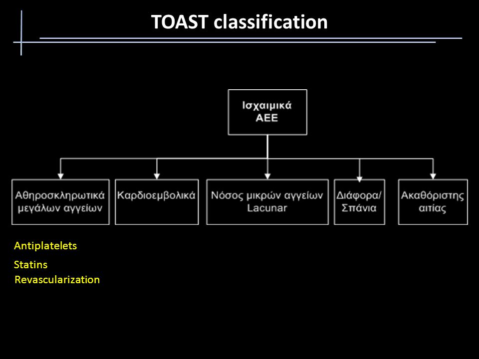 TOAST classification Antiplatelets Statins Revascularization
