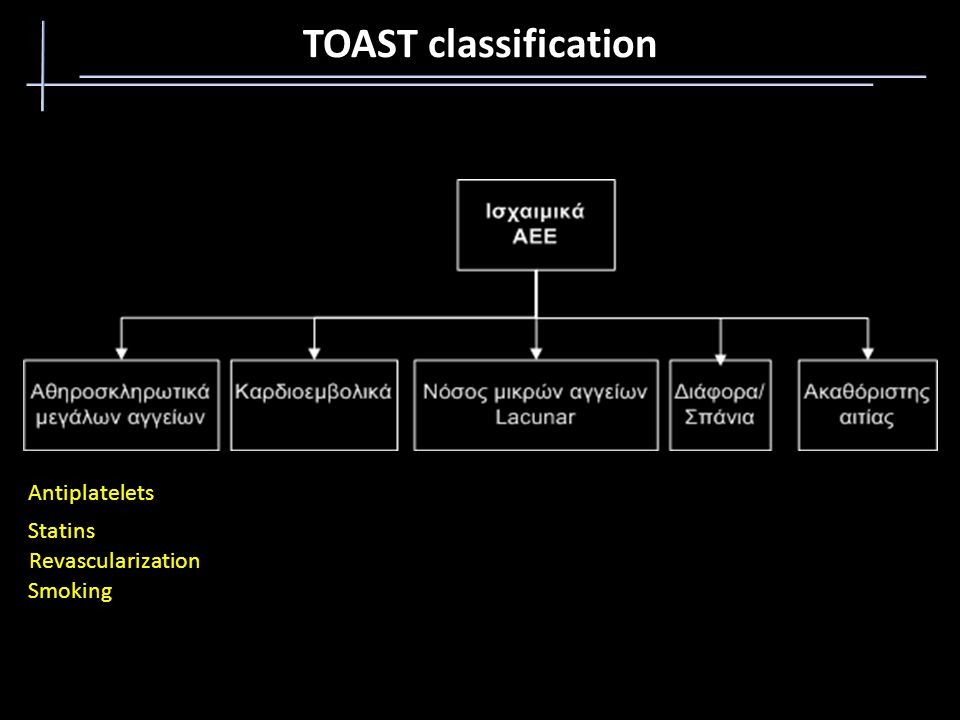 TOAST classification Antiplatelets Statins Revascularization Smoking