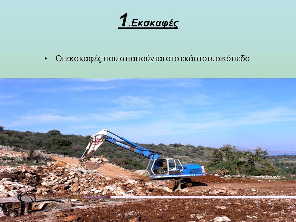 Οι εκσκαφές που απαιτούνται στο εκάστοτε οικόπεδο.