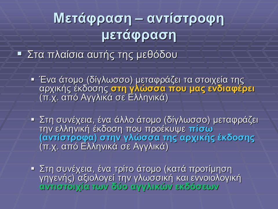 Μετάφραση – αντίστροφη μετάφραση