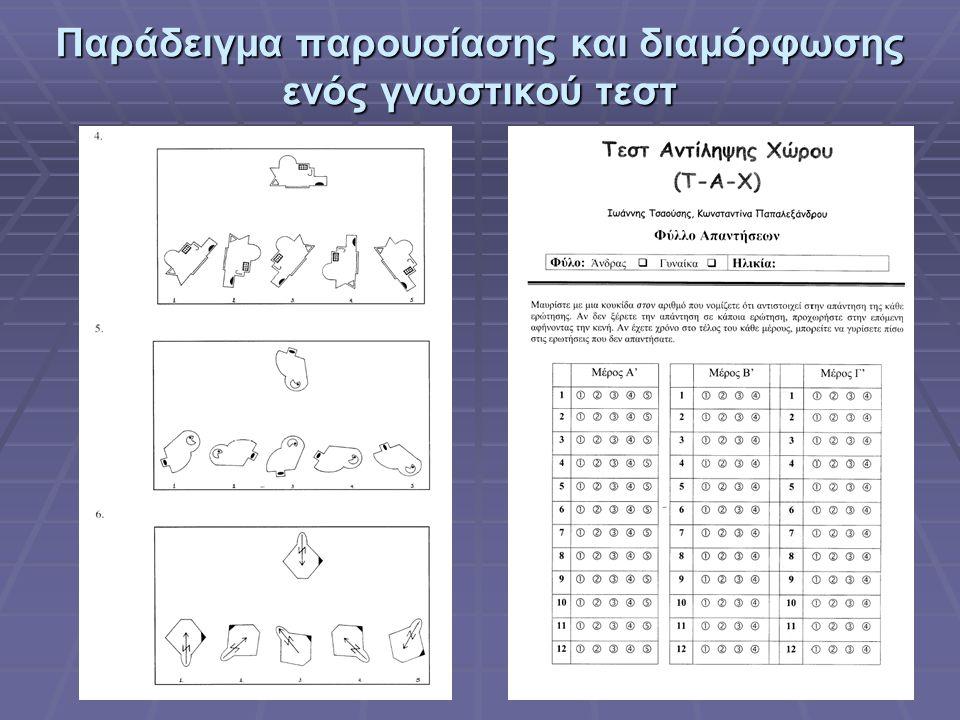 Παράδειγμα παρουσίασης και διαμόρφωσης ενός γνωστικού τεστ
