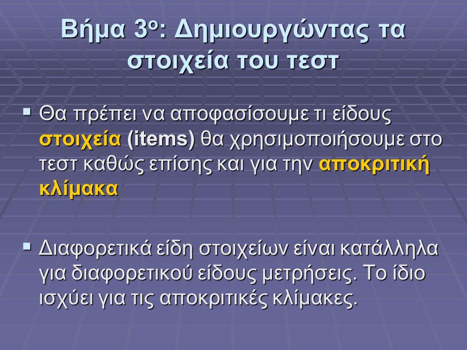 Βήμα 3ο: Δημιουργώντας τα στοιχεία του τεστ