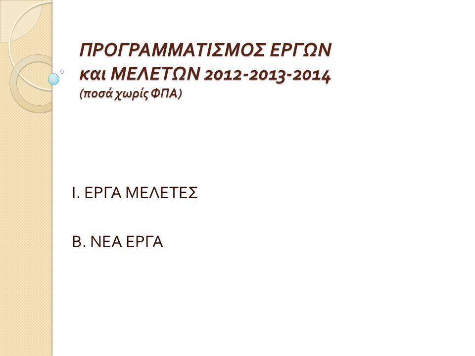 ΠΡΟΓΡΑΜΜΑΤΙΣΜΟΣ ΕΡΓΩΝ και ΜΕΛΕΤΩΝ 2012-2013-2014 (ποσά χωρίς ΦΠΑ)