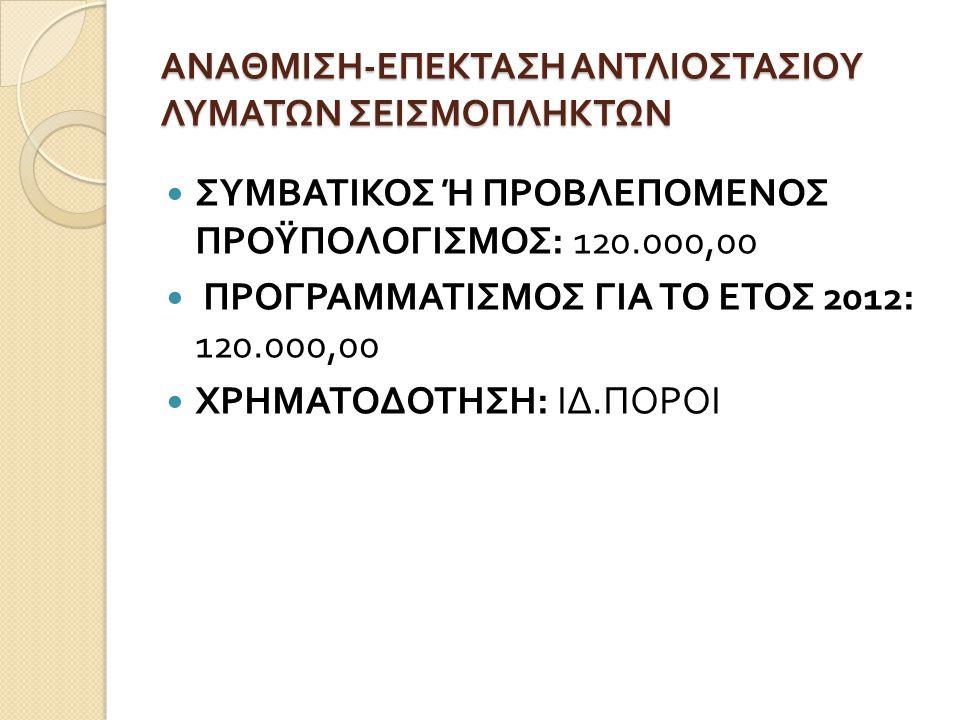 ΑΝΑΘΜΙΣΗ-ΕΠΕΚΤΑΣΗ ΑΝΤΛΙΟΣΤΑΣΙΟΥ ΛΥΜΑΤΩΝ ΣΕΙΣΜΟΠΛΗΚΤΩΝ