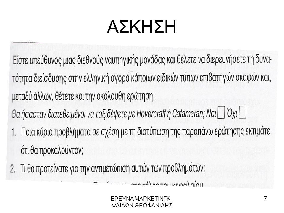 ΕΡΕΥΝΑ ΜΑΡΚΕΤΙΝΓΚ - ΦΑΙΔΩΝ ΘΕΟΦΑΝΙΔΗΣ
