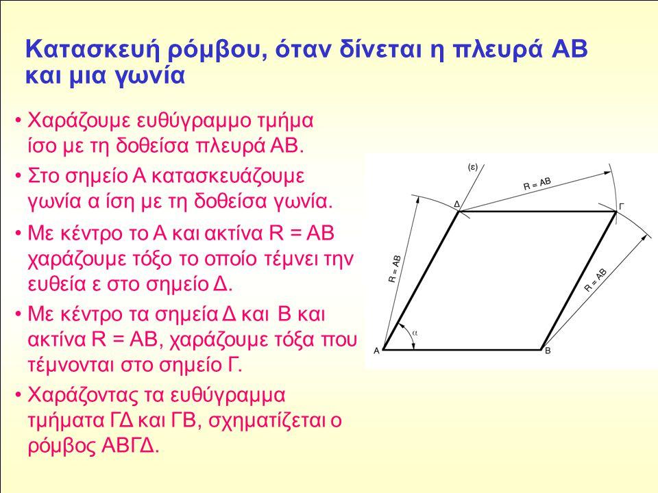 Kατασκευή ρόμβου, όταν δίνεται η πλευρά ΑΒ και μια γωνία