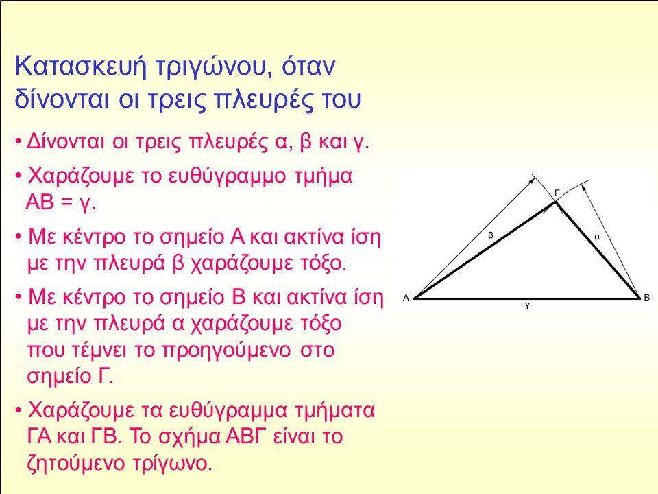 Κατασκευή τριγώνου, όταν δίνονται οι τρεις πλευρές του
