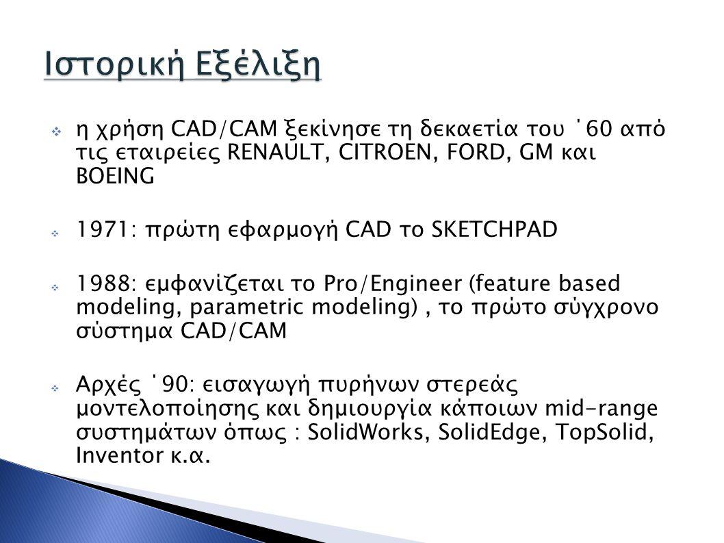 Ιστορική Εξέλιξη η χρήση CAD/CAM ξεκίνησε τη δεκαετία του ΄60 από τις εταιρείες RENAULT, CITROEN, FORD, GM και BOEING.