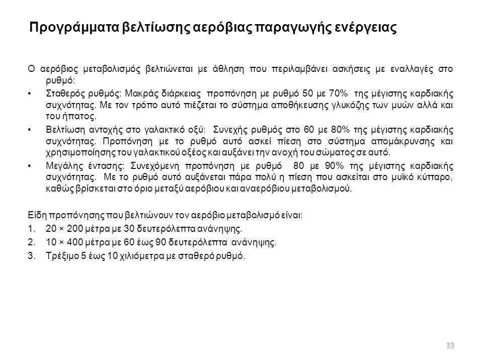 Προγράμματα βελτίωσης αερόβιας παραγωγής ενέργειας