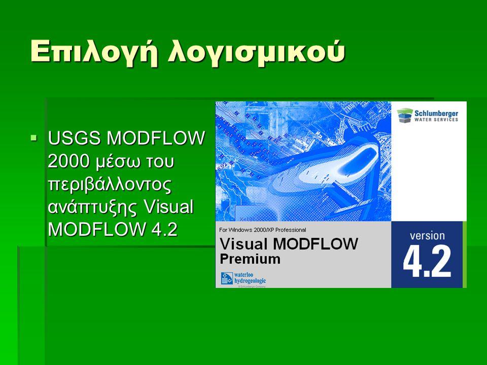 Επιλογή λογισμικού USGS MODFLOW 2000 μέσω του περιβάλλοντος ανάπτυξης Visual MODFLOW 4.2
