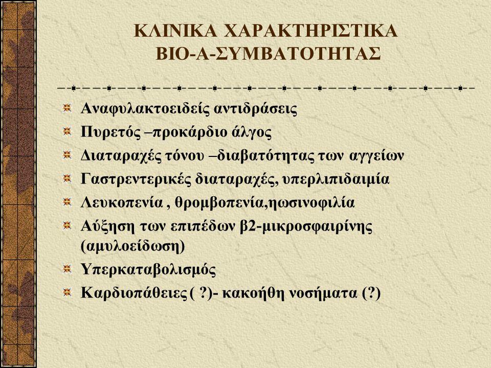 ΚΛΙΝΙΚΑ ΧΑΡΑΚΤΗΡΙΣΤΙΚΑ ΒΙΟ-Α-ΣΥΜΒΑΤΟΤΗΤΑΣ