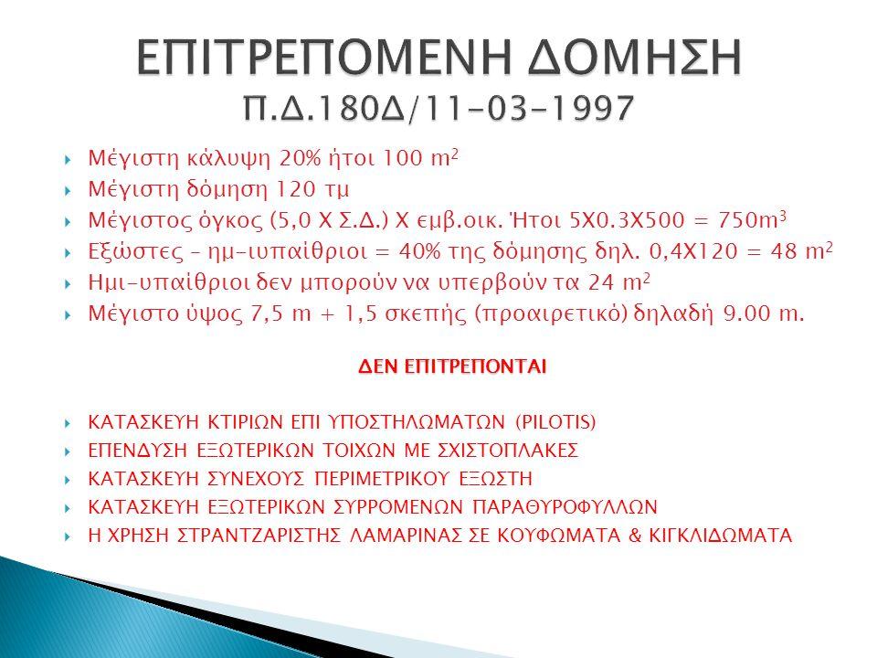 ΕΠΙΤΡΕΠΟΜΕΝΗ ΔΟΜΗΣΗ Π.Δ.180Δ/11-03-1997