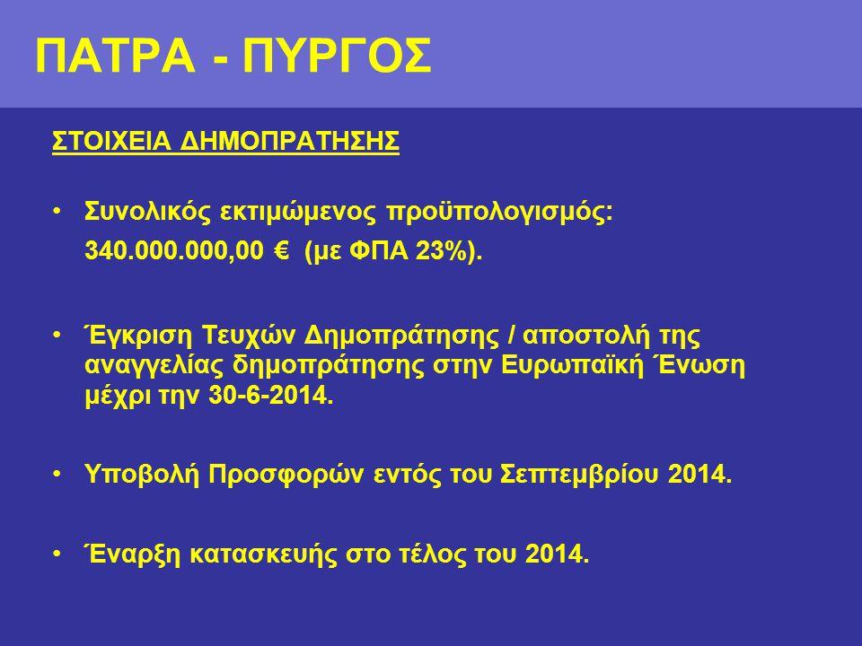 ΠΑΤΡΑ - ΠΥΡΓΟΣ ΣΤΟΙΧΕΙΑ ΔΗΜΟΠΡΑΤΗΣΗΣ