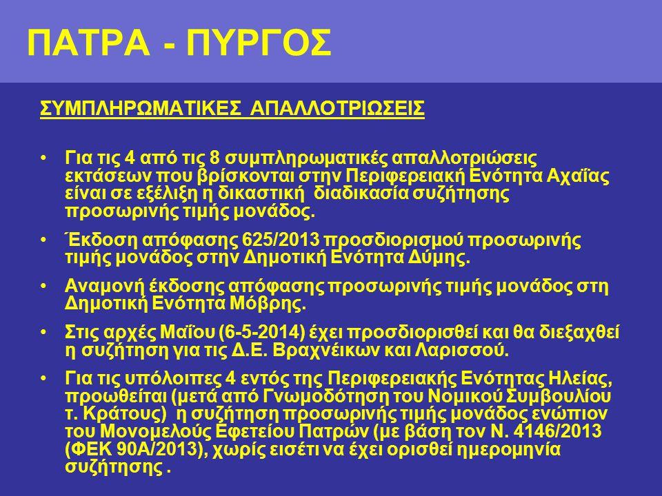 ΠΑΤΡΑ - ΠΥΡΓΟΣ ΣΥΜΠΛΗΡΩΜΑΤΙΚΕΣ ΑΠΑΛΛΟΤΡΙΩΣΕΙΣ