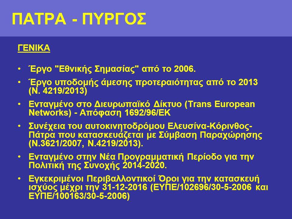 ΠΑΤΡΑ - ΠΥΡΓΟΣ ΓΕΝΙΚΑ Έργο Εθνικής Σημασίας από το 2006.