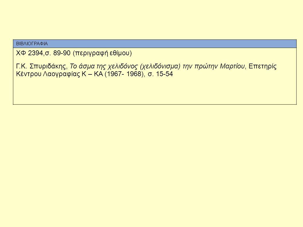 ΧΦ 2394,σ. 89-90 (περιγραφή εθίμου)