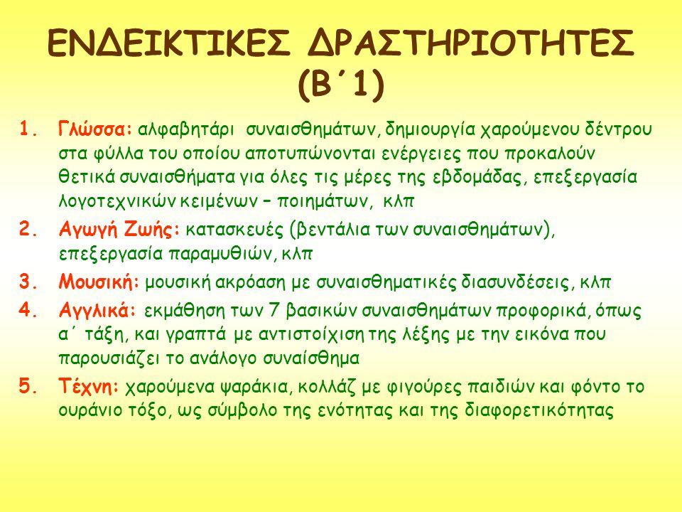 ΕΝΔΕΙΚΤΙΚΕΣ ΔΡΑΣΤΗΡΙΟΤΗΤΕΣ (Β΄1)