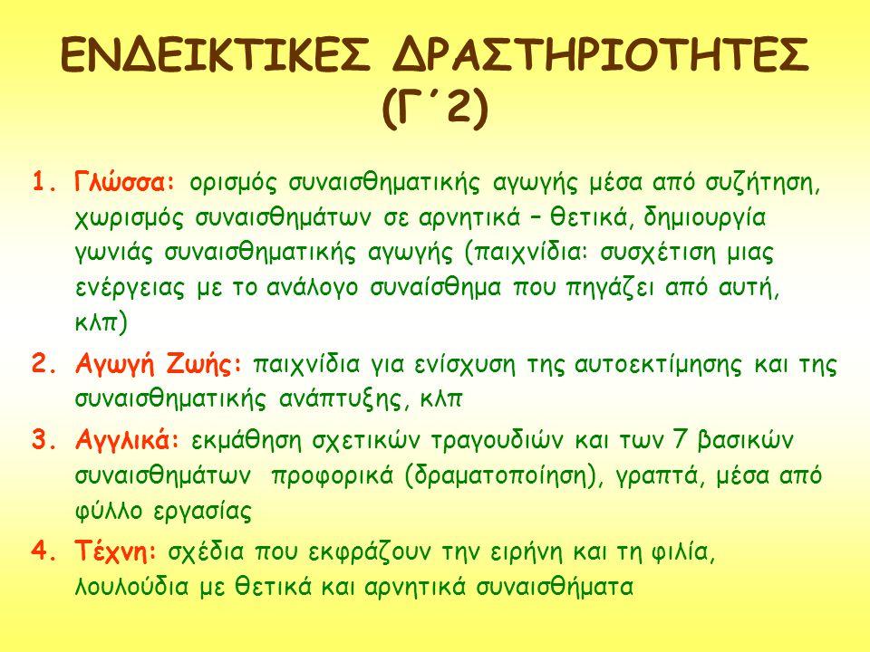 ΕΝΔΕΙΚΤΙΚΕΣ ΔΡΑΣΤΗΡΙΟΤΗΤΕΣ (Γ΄2)