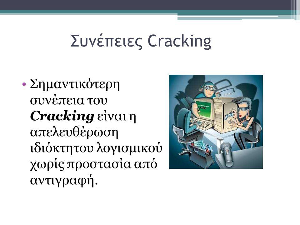 Συνέπειες Cracking Σημαντικότερη συνέπεια του Cracking είναι η απελευθέρωση ιδιόκτητου λογισμικού χωρίς προστασία από αντιγραφή.