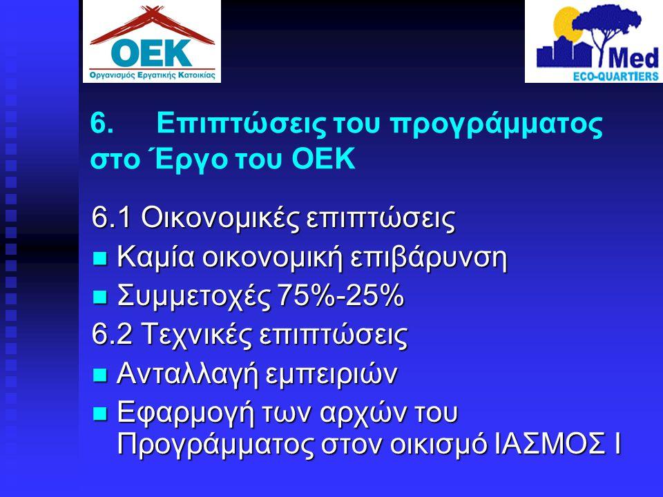 6. Επιπτώσεις του προγράμματος στο Έργο του ΟΕΚ