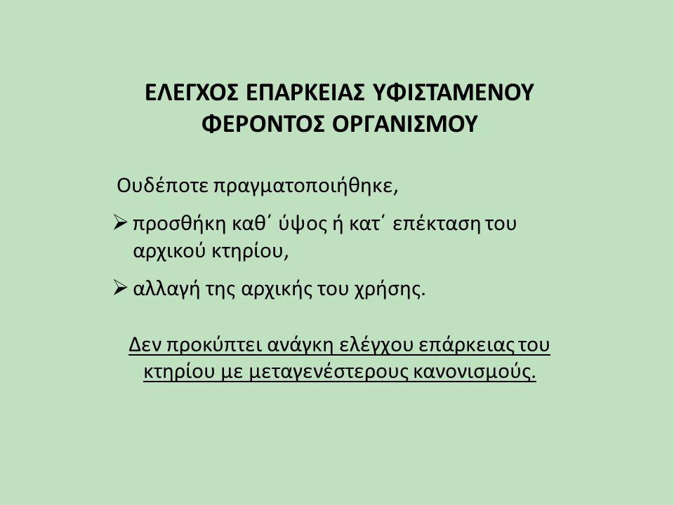 ΕΛΕΓΧΟΣ ΕΠΑΡΚΕΙΑΣ ΥΦΙΣΤΑΜΕΝΟΥ ΦΕΡΟΝΤΟΣ ΟΡΓΑΝΙΣΜΟΥ