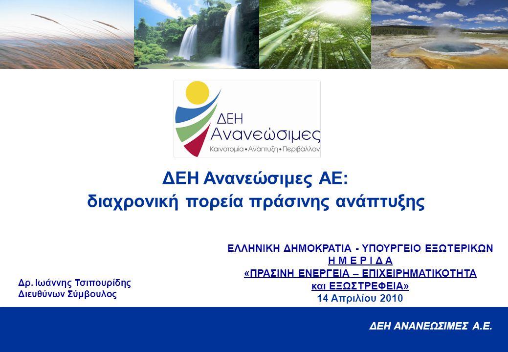 ΔΕΗ Ανανεώσιμες ΑΕ: διαχρονική πορεία πράσινης ανάπτυξης