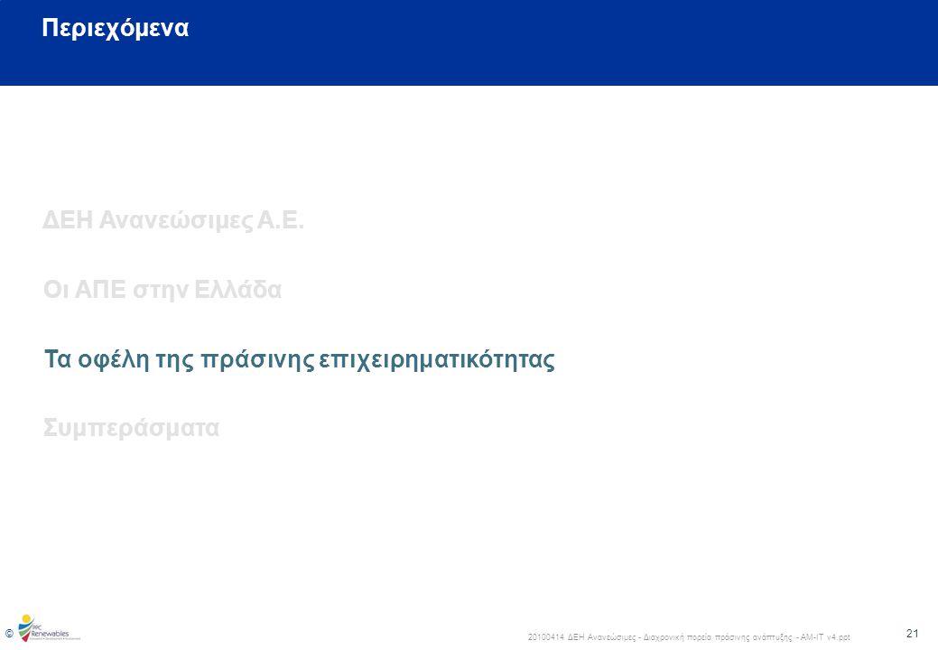 Περιεχόμενα ΔΕΗ Ανανεώσιμες Α.Ε. Οι ΑΠΕ στην Ελλάδα.