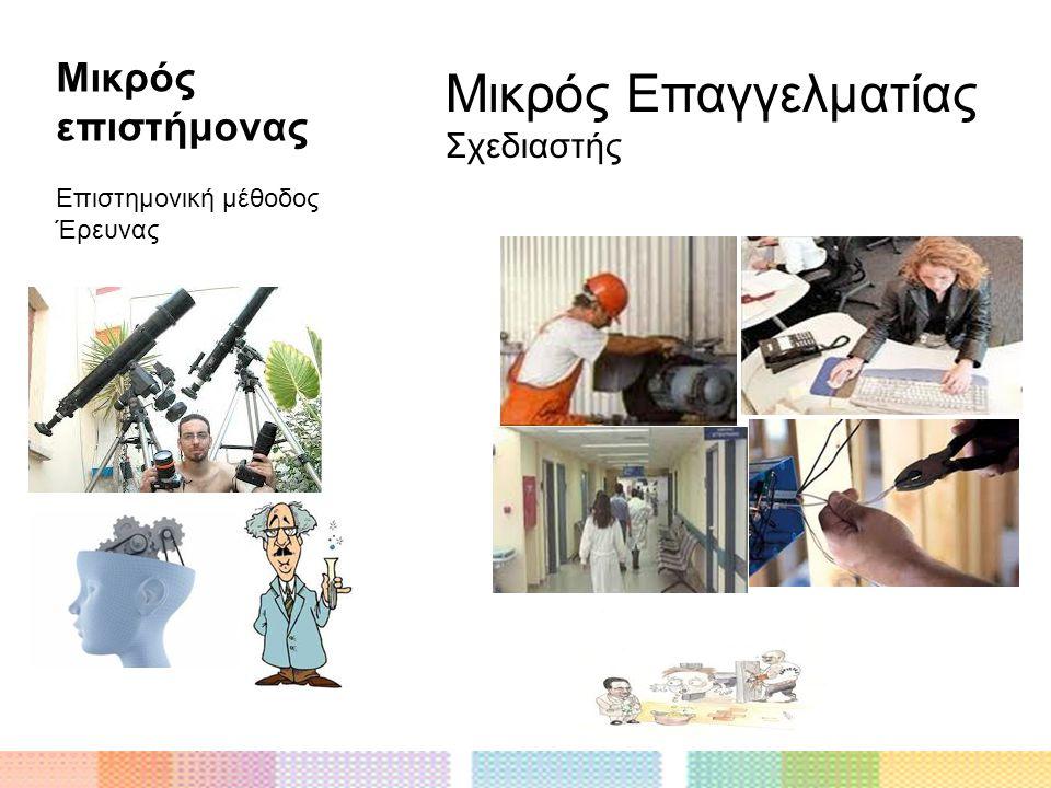 Μικρός Επαγγελματίας Μικρός επιστήμονας Σχεδιαστής