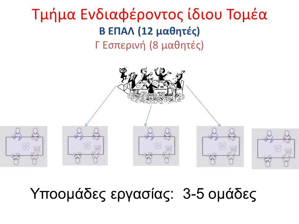 Τμήμα Ενδιαφέροντος ίδιου Τομέα Β ΕΠΑΛ (12 μαθητές) Γ Εσπερινή (8 μαθητές)