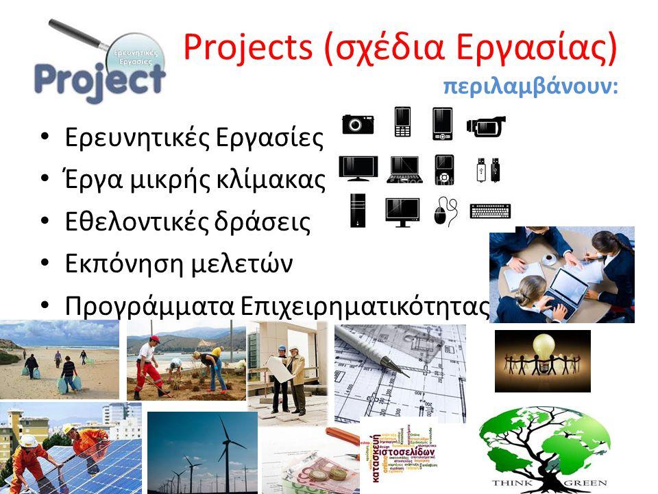 Projects (σχέδια Εργασίας) περιλαμβάνουν: