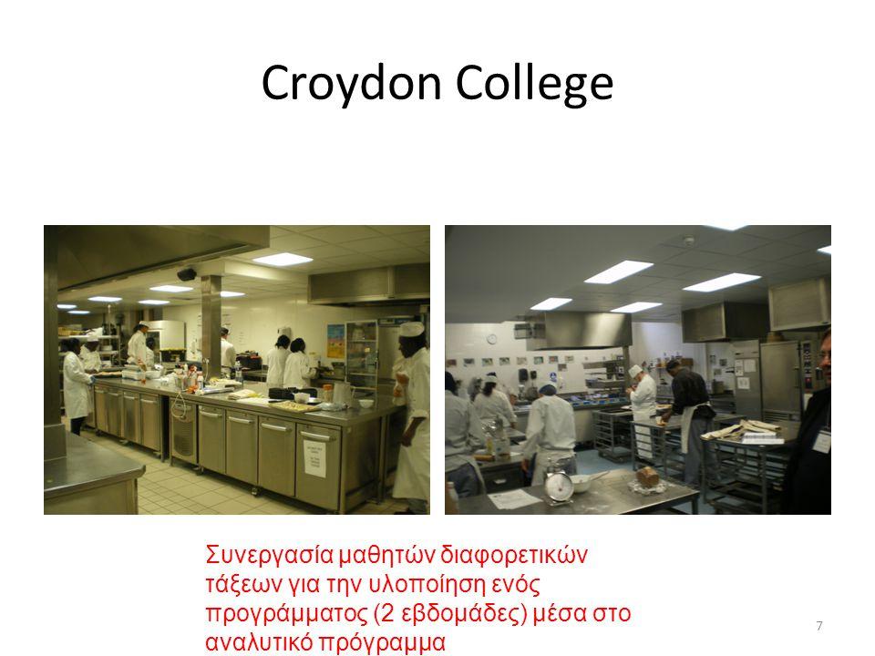Croydon College Συνεργασία μαθητών διαφορετικών τάξεων για την υλοποίηση ενός προγράμματος (2 εβδομάδες) μέσα στο αναλυτικό πρόγραμμα.