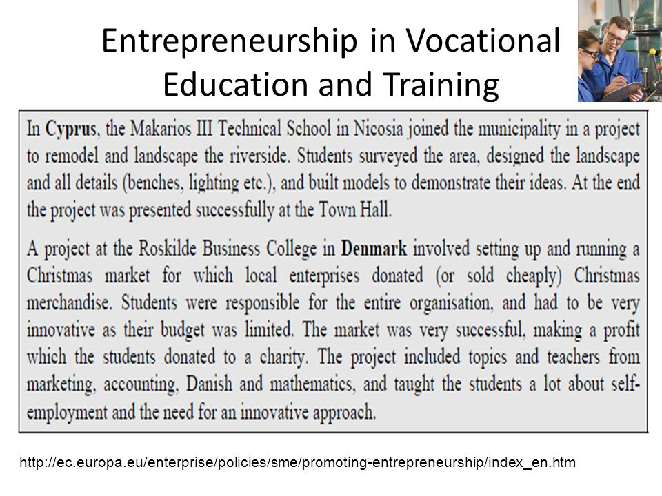 Entrepreneurship in Vocational Education and Training