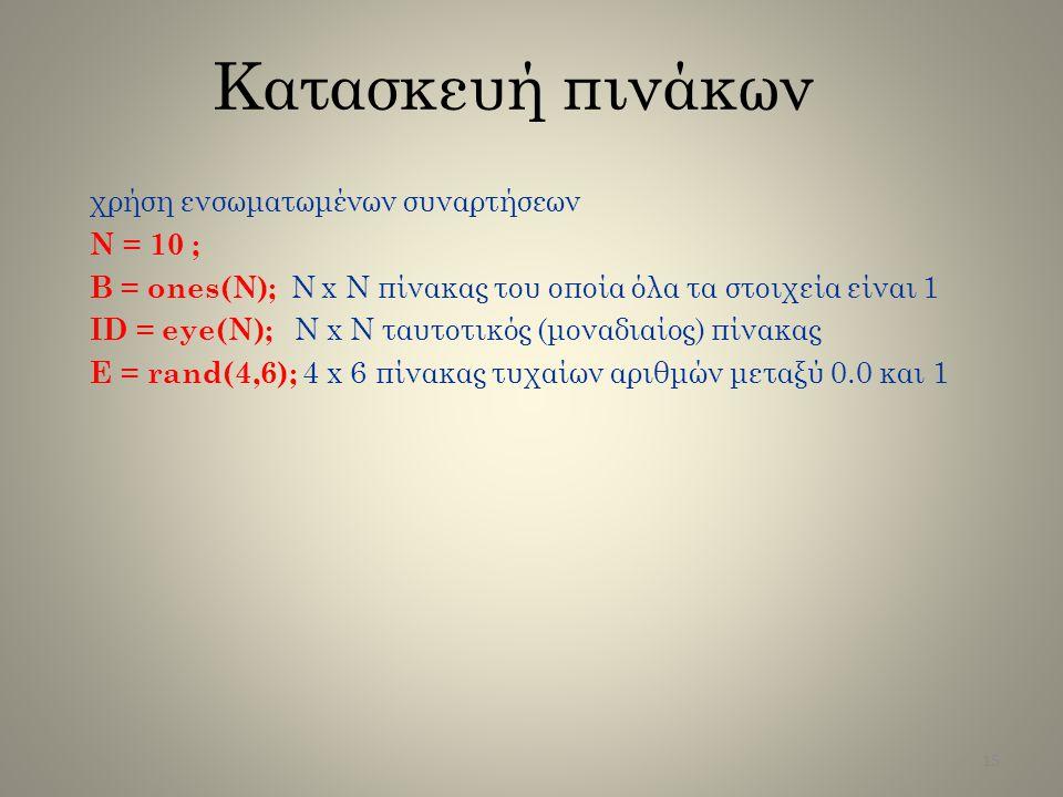 Κατασκευή πινάκων χρήση ενσωματωμένων συναρτήσεων N = 10 ;