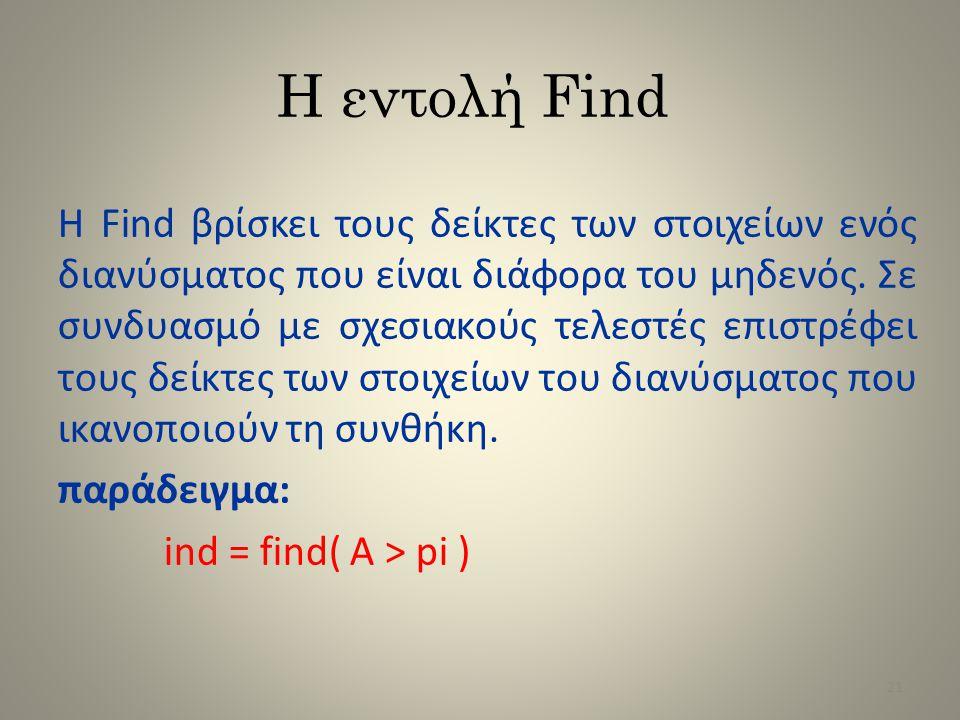 Η εντολή Find