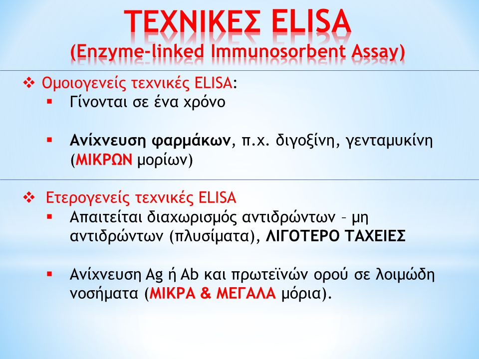 ΤΕΧΝΙΚΕΣ ELISA (Enzyme-linked Immunosorbent Assay)