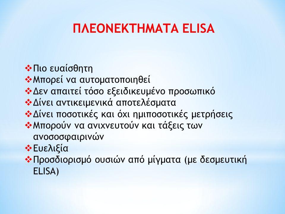 ΠΛΕΟΝΕΚΤΗΜΑΤΑ ELISA Πιο ευαίσθητη Μπορεί να αυτοματοποιηθεί