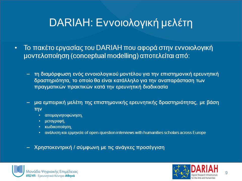 DARIAH: Εννοιολογική μελέτη