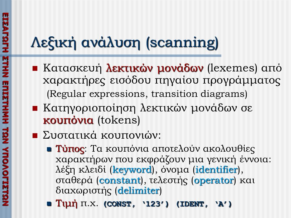 Λεξική ανάλυση (scanning)