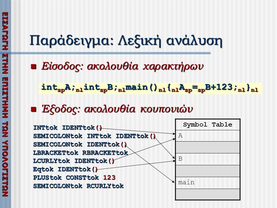 Παράδειγμα: Λεξική ανάλυση