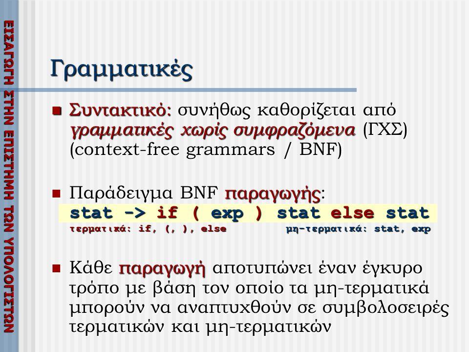 Γραμματικές Συντακτικό: συνήθως καθορίζεται από γραμματικές χωρίς συμφραζόμενα (ΓΧΣ) (context-free grammars / BNF)