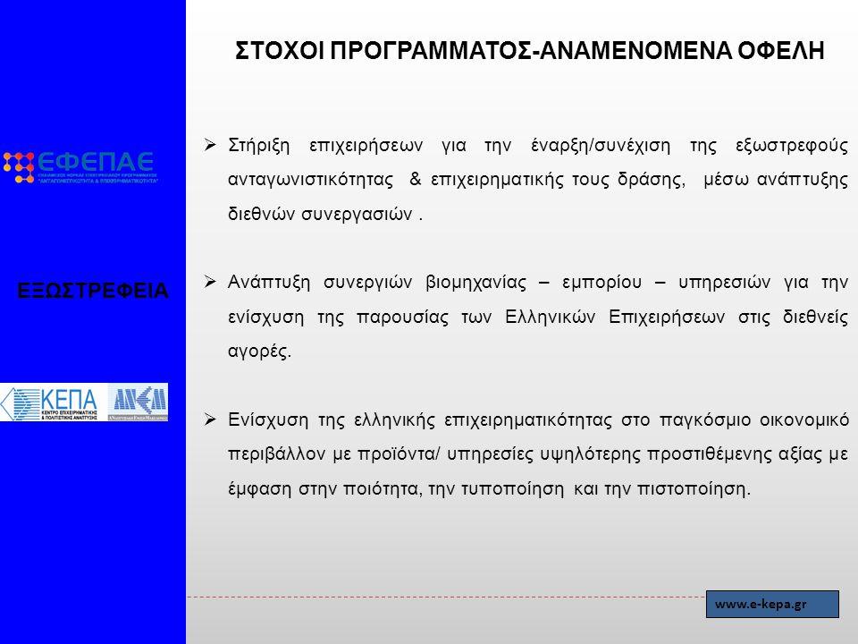 ΣΤΟΧΟΙ ΠΡΟΓΡΑΜΜΑΤΟΣ-ΑΝΑΜΕΝΟΜΕΝΑ ΟΦΕΛΗ