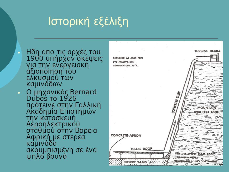 Ιστορική εξέλιξη Ηδη απο τις αρχές του 1900 υπήρχαν σκεψεις για την ενεργειακή αξιοποίηση του ελκυσμού των καμινάδων.